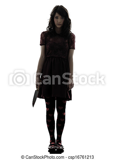 strange young woman killer holding  bloody knife silhouette - csp16761213