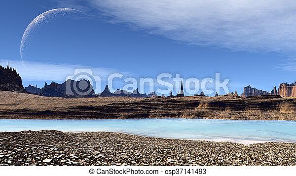 straniero, planet., illustrazione, pietre, lake., fantasia, 3d - csp37141493