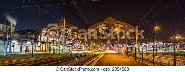 Strasbourg railway station at night. Alsace, France - csp12054588