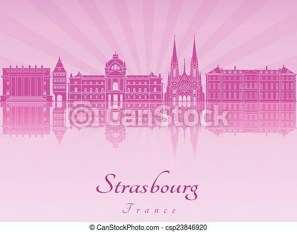 Strasbourg skyline in purple radiant orchid - csp23846920
