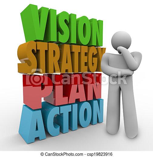 strategie, u, myslitel, plán, rozmluvy, děj, vidění, 3 - csp19823916