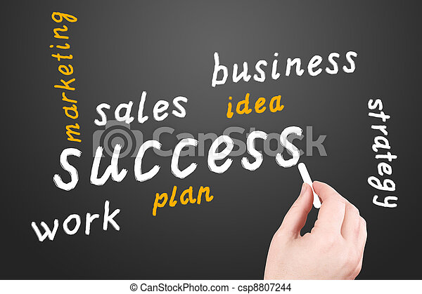Strategy. Business plan on a black blackboard - csp8807244