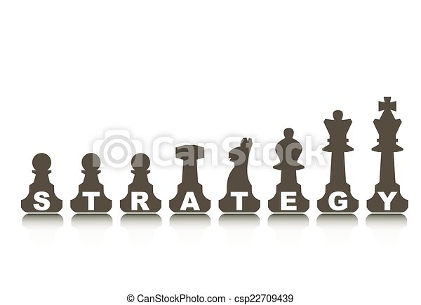 Strategy concept, illustration with abstract chess figure - csp22709439