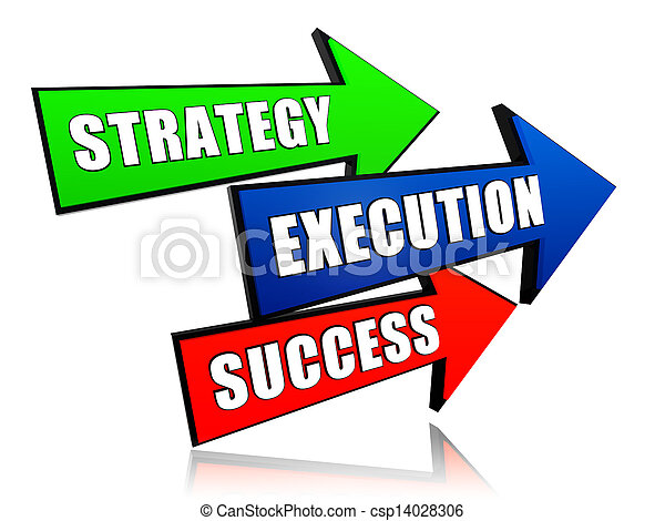 strategy, execution, success in arrows - csp14028306
