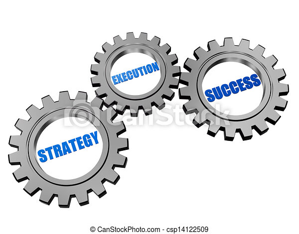 strategy, execution, success in silver grey gears - csp14122509