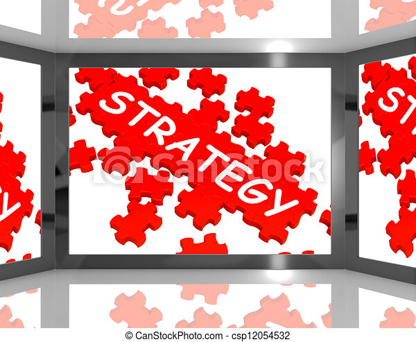 Strategy On Screen Showing Innovative Plans - csp12054532