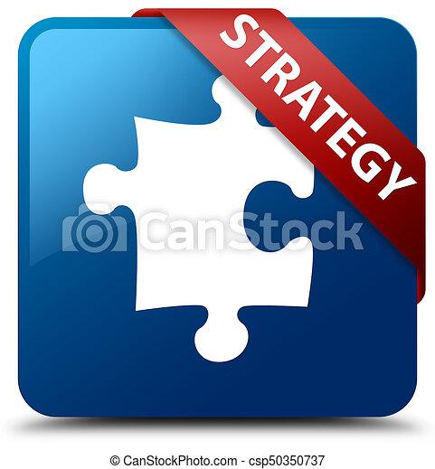 Strategy (puzzle icon) blue square button red ribbon in corner - csp50350737