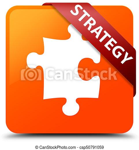 Strategy (puzzle icon) orange square button red ribbon in corner - csp50791059