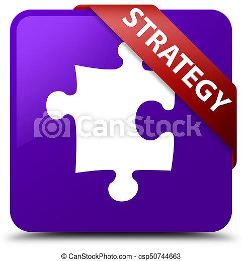 Strategy (puzzle icon) purple square button red ribbon in corner - csp50744663