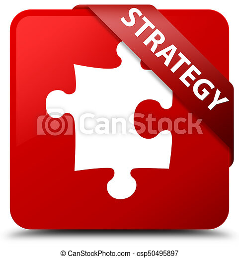 Strategy (puzzle icon) red square button red ribbon in corner - csp50495897