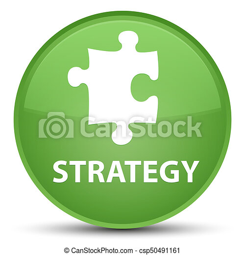 Strategy (puzzle icon) special soft green round button - csp50491161