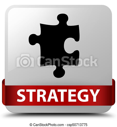 Strategy (puzzle icon) white square button red ribbon in middle - csp50713775