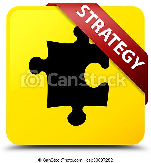 Strategy (puzzle icon) yellow square button red ribbon in corner - csp50697282