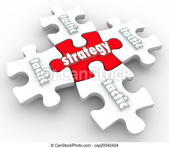 Strategy Tactics Plan Implementation Execution Puzzle Pieces - csp20042404
