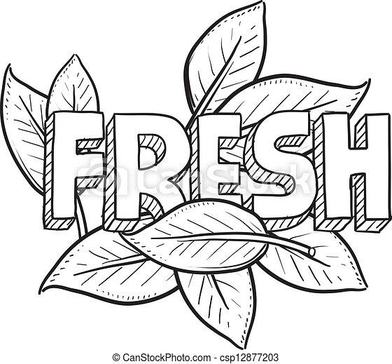 strava, čerstvý, skica - csp12877203