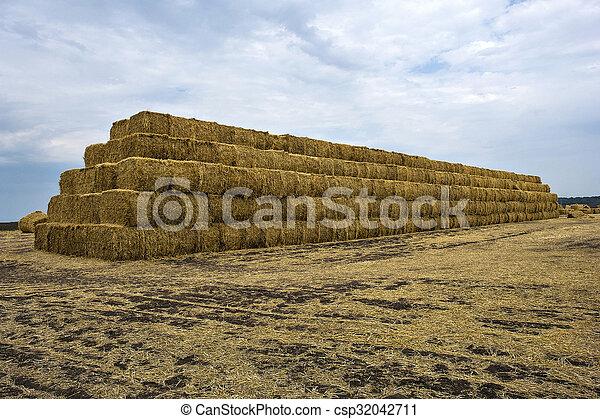 Straw bales pyramid - csp32042711