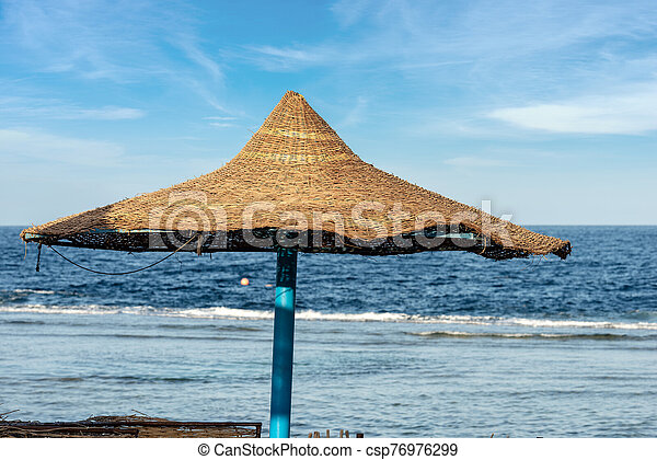 Straw Beach Umbrella Red Sea Egypt One Straw Beach Umbrellas And The Red Sea Near Marsa Alam Egypt Africa Canstock