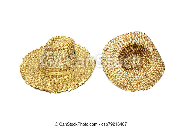 Straw hat isolated on white background - csp79216467