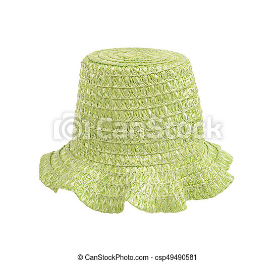 straw hat isolated on white - csp49490581