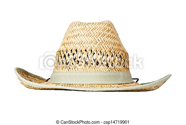 Straw hat, isolated on white - csp14719901