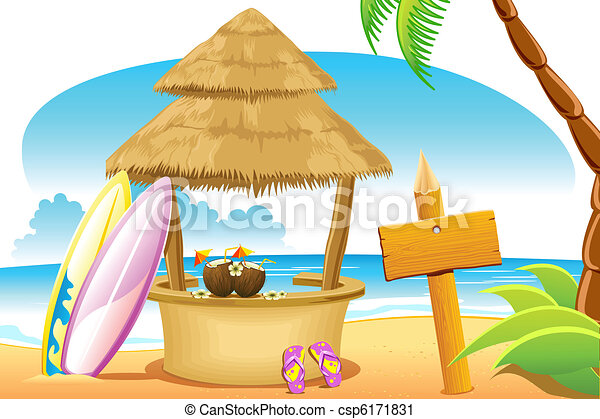 Straw Hut And Surfing Board In Beach Vector
