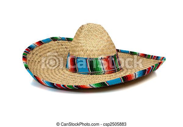 Straw Mexican Sombrero on white background - csp2505883
