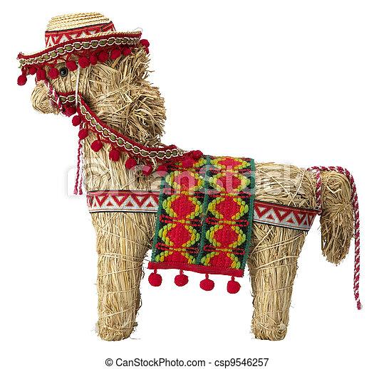 straw  spanish donkey isolated on white - csp9546257