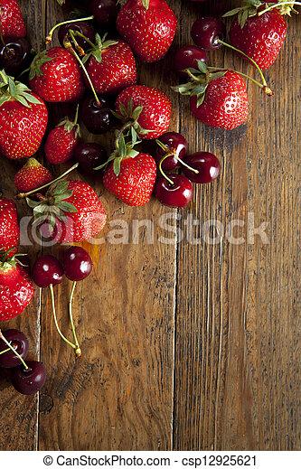 strawberries and cherries - csp12925621
