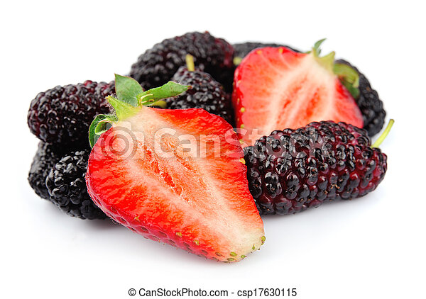 Strawberries and mulberry closeup. - csp17630115