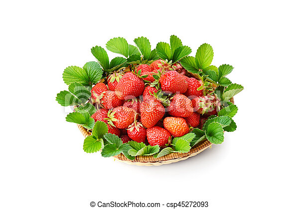 strawberries in a basket isolated on white background - csp45272093