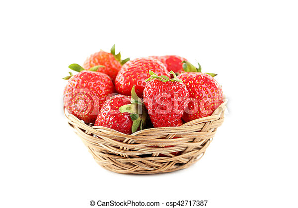 Strawberries in basket isolated on a white background - csp42717387