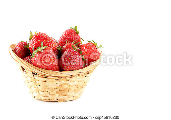 Strawberries in basket isolated on a white background - csp45610280