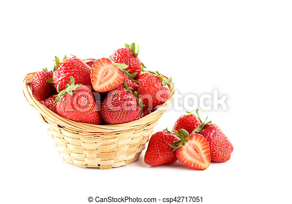 Strawberries in basket isolated on a white background - csp42717051