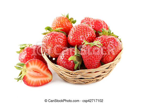 Strawberries in basket isolated on a white background - csp42717102