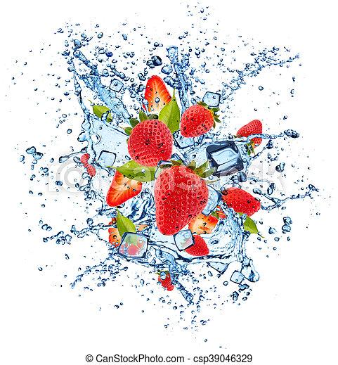 Strawberries in water splash on white background - csp39046329