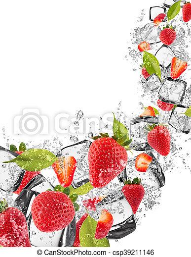 Strawberries in water splash on white background - csp39211146