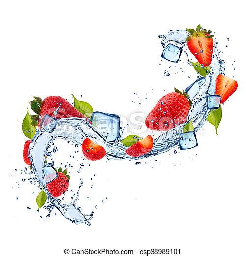 Strawberries in water splash on white background - csp38989101