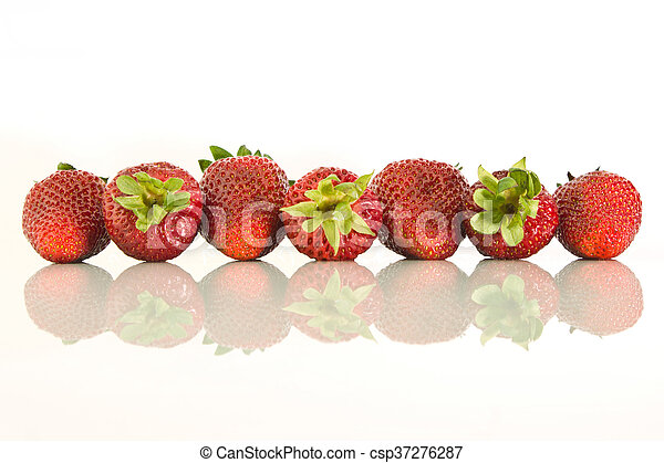 Strawberries laid in a row - csp37276287