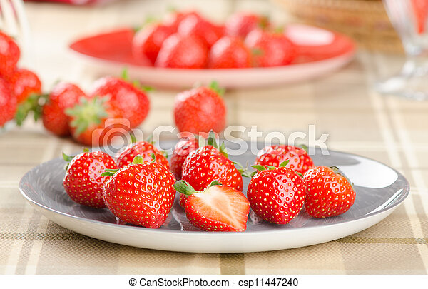 strawberries on a plate - csp11447240