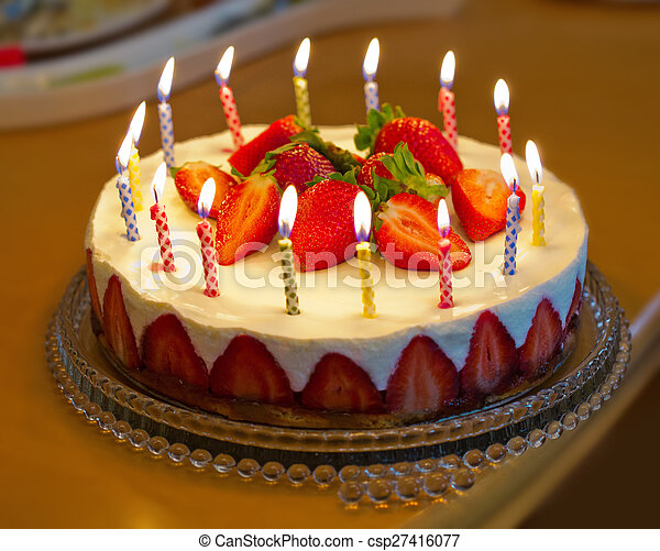 Fantastic Strawberry Birthday Cake With Candles Birthday Card Personalised Birthday Cards Veneteletsinfo