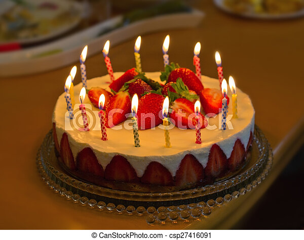 Amazing Strawberry Birthday Cake With Candles Birthday Card Personalised Birthday Cards Veneteletsinfo