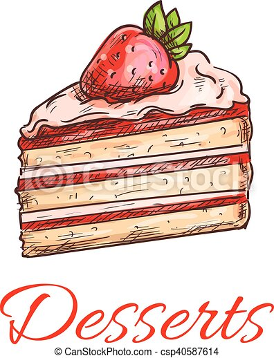 Strawberry cake sketch for pastry shop design - csp40587614
