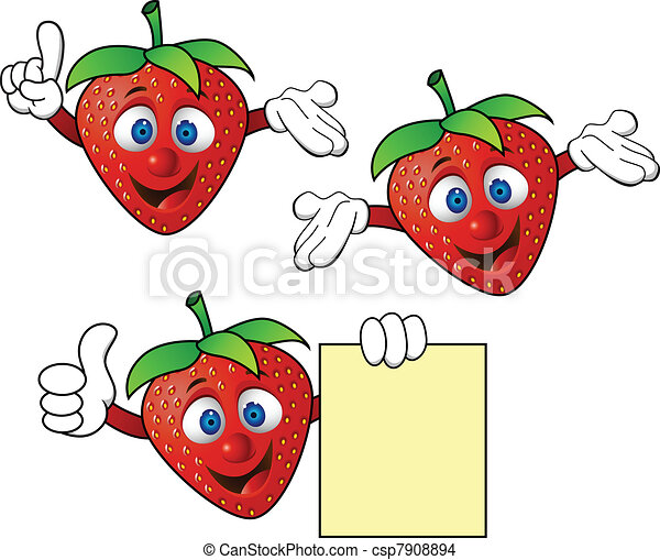 Strawberry cartoon character - csp7908894