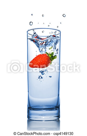Strawberry dropped into water glass with splash isolated on white - csp4149130