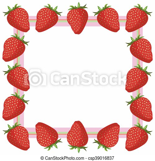 Juicy red strawberry frame - vector illustration.