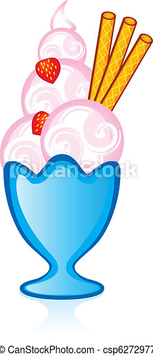 Strawberry ice cream with fafelnymi tubes for the glass vase - csp6272977
