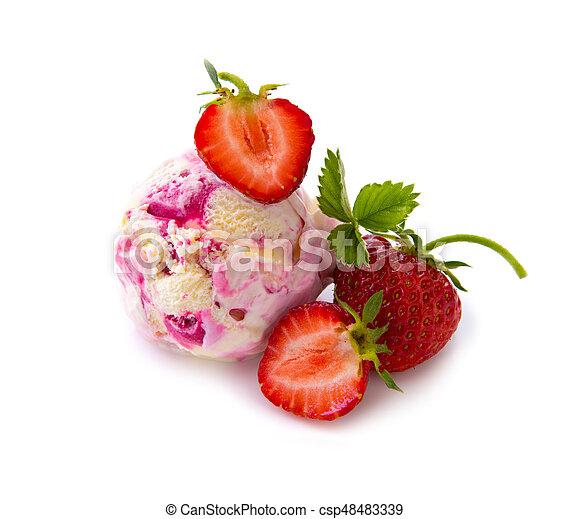 Strawberry ice cream with fruit on white background - csp48483339