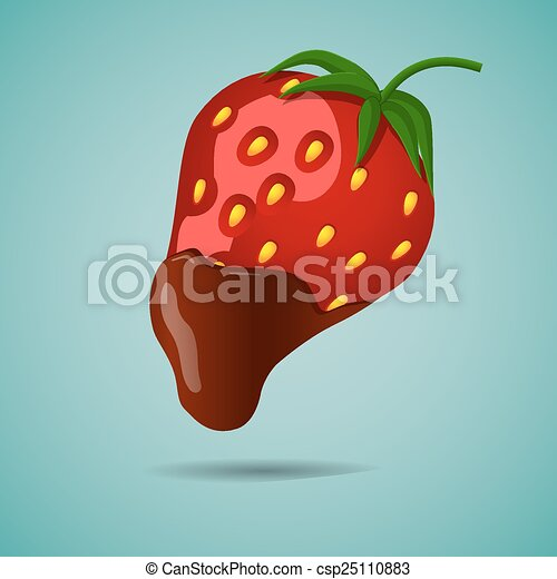 Strawberry In Chocolate Strawberries Bathed In Chocolate Eps10 Vector Illustration