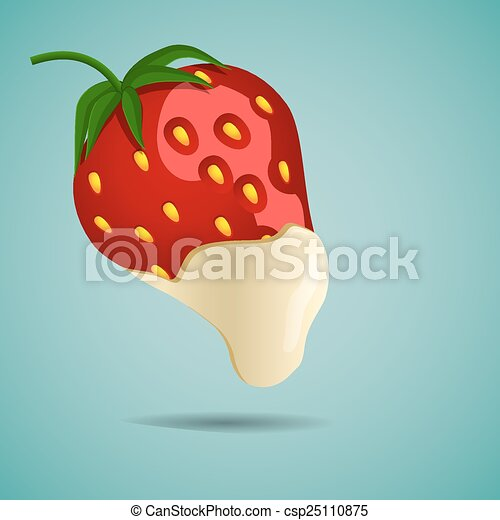 Strawberry In White Chocolate Strawberries Bathed In White Chocolate Eps10 Illustration Canstock