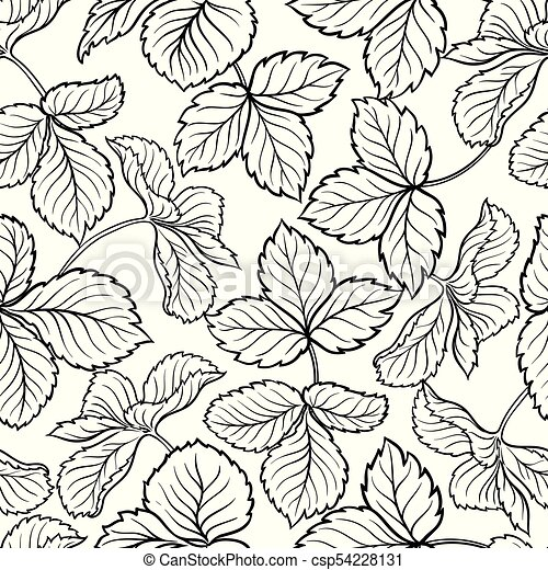 strawberry leaves seamless pattern - csp54228131